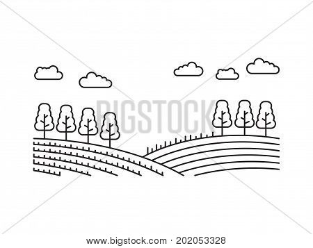 Rural landscape of fields with trees in linear style isolated on white background. Hills, fields, vector illustration of a farm engaged in agricultures