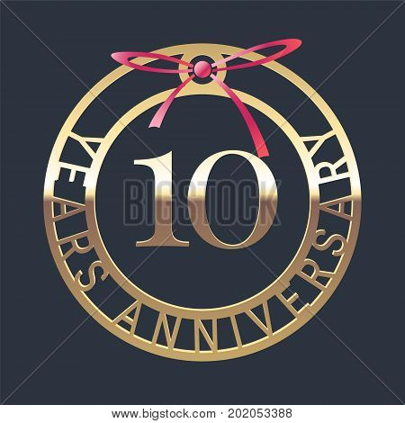 10 years anniversary vector icon symbol. Graphic design element or logo with golden medal and red ribbon for 10th anniversary