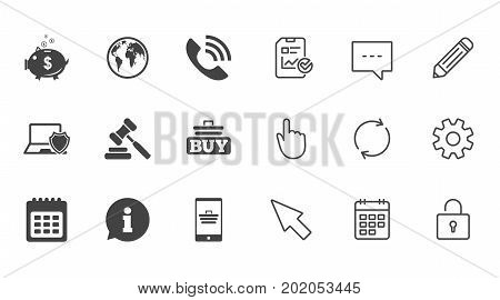 Online shopping, e-commerce and business icons. Auction, phone call and information signs. Piggy bank, calendar and smartphone symbols. Chat, Report and Calendar line signs. Vector