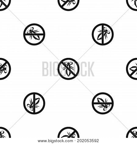 No louse sign pattern repeat seamless in black color for any design. Vector geometric illustration