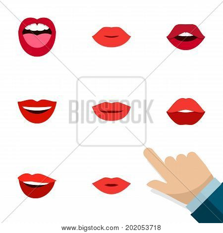 Flat Icon Mouth Set Of Pomade, Tongue, Mouth And Other Vector Objects