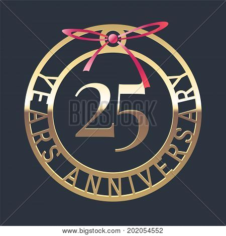 25 years anniversary vector icon symbol. Graphic design element or logo with golden medal and red ribbon for 25th anniversary