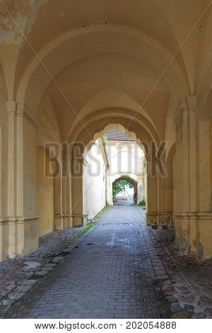 Vilnius old town gate with arch vault, Vilnius, Lithuania, Europe