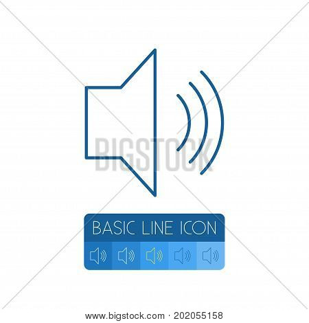 Sound Vector Element Can Be Used For Volume, Sound, Control Design Concept.  Isolated Volume Outline.