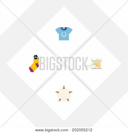 Flat Icon Cotton Set Of Bud, Hosiery, Knitting And Other Vector Objects