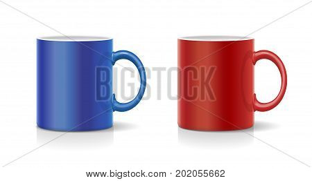 Coffee mug red and blue vector realistic