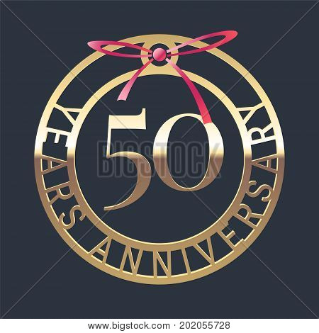 50 years anniversary vector icon symbol. Graphic design element or logo with golden medal and red ribbon for 50th anniversary