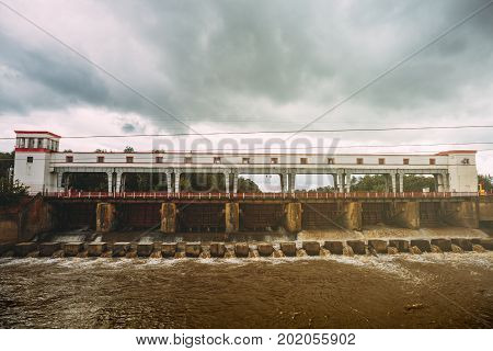 Dam of hydroelectric power plant or water power plant in Adygea, Russia