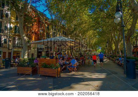PALMA DE MALLORCA, SPAIN - AUGUST 18 2017: Unidentified people at Boulevard Born in Palma de Mallorca, Spain, Europe.