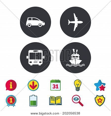 Transport icons. Car, Airplane, Public bus and Ship signs. Shipping delivery symbol. Air mail delivery sign. Calendar, Information and Download signs. Stars, Award and Book icons. Vector