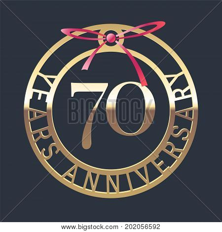 70 years anniversary vector icon symbol. Graphic design element or logo with golden medal and red ribbon for 70th anniversary