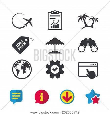 Travel trip icon. Airplane, world globe symbols. Palm tree and Beach umbrella signs. Browser window, Report and Service signs. Binoculars, Information and Download icons. Stars and Chat. Vector