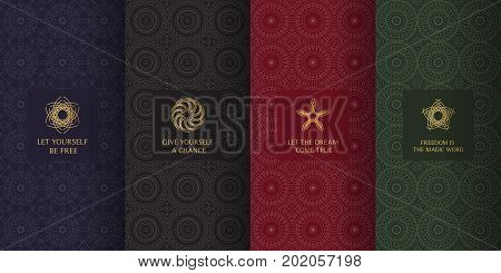 Collection Of Dark Backgrounds And Golden Elements. Set Of Labels, Icons, Logos And Patterns In Arab