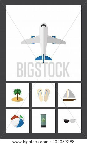 Flat Icon Season Set Of Beach Sandals , Yacht , Aircraft Vector Objects