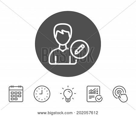 Edit User line icon. Profile Avatar with pencil sign. Male Person silhouette symbol. Report, Clock and Calendar line signs. Light bulb and Click icons. Editable stroke. Vector