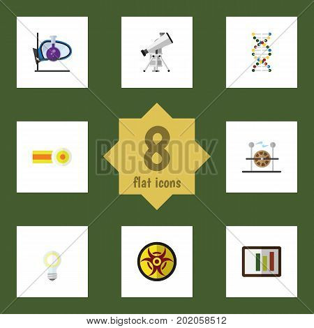 Flat Icon Science Set Of Genome, Chemical, Danger And Other Vector Objects