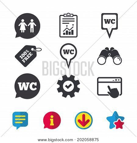 WC Toilet pointer icons. Gents and ladies room signs. Man and woman speech bubble symbols. Browser window, Report and Service signs. Binoculars, Information and Download icons. Stars and Chat. Vector