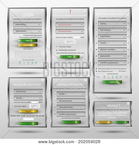 Set for web design, login form, registration form, form, form change password, password recovery, form of communication - website creation in white color