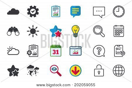 Weather icons. Cloud and sun signs. Storm or thunderstorm with lightning symbol. Gale hurricane. Chat, Report and Calendar signs. Stars, Statistics and Download icons. Question, Clock and Globe