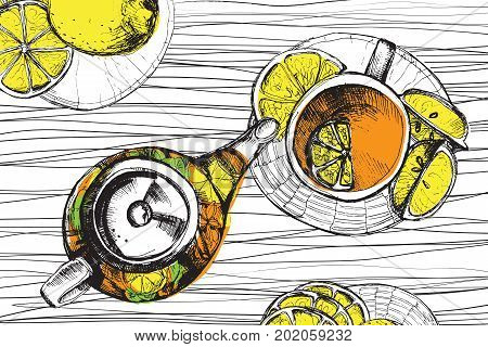 Tea hand draw set - teapot, cup and spoon with lemons, limes. Isolated collection on white background. Doodle elements about cup of tea