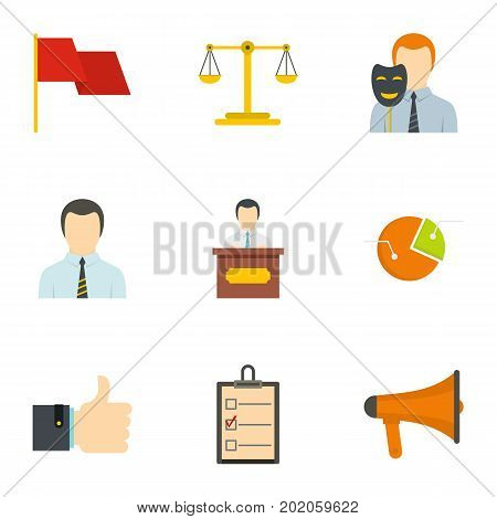 Law icons set. Flat style set of 9 law vector icons for web design