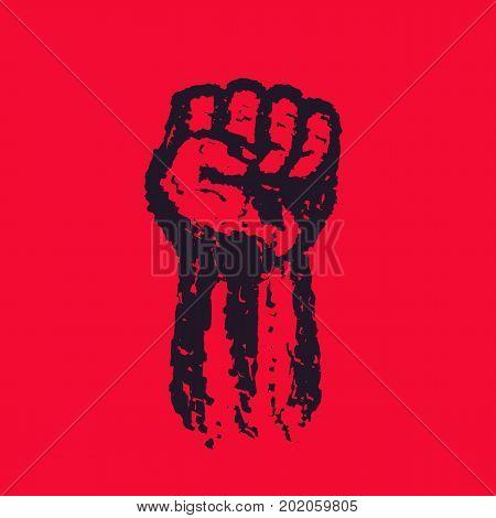 Fist held high in protest, hand raised up, grunge revolt symbol