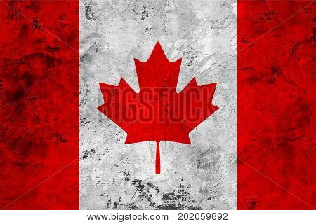 Flag of the Canada against the background of the stone texture