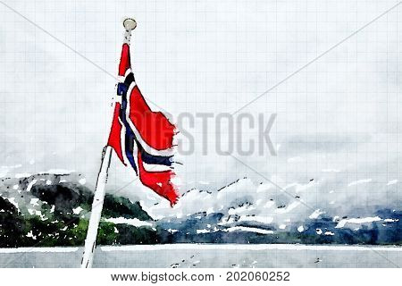 Digital watercolour of a red flag of Norway with the fjord in background