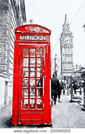 Digital watercolour of a red booth in London with Big Ben in Background