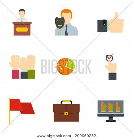 Policy icons set. Flat style set of 9 policy vector icons for web design