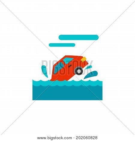 Icon of car sinking in river. Flood, car accident, road safety. Car accident concept. Can be used for topics like transportation, automobiles, insurance