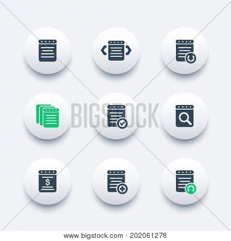 reports, document, account icons, eps 10 file, easy to edit
