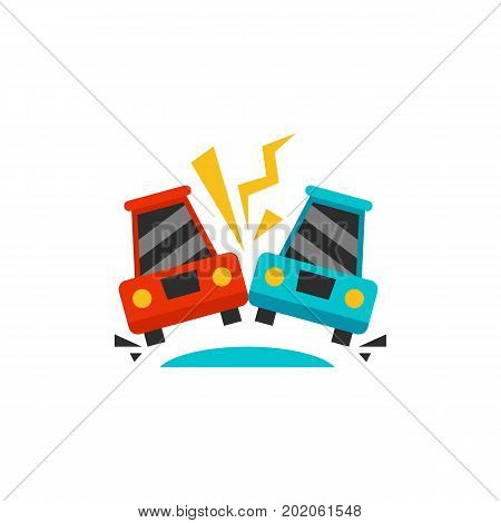 Icon of crashed cars on road. Road traffic accident, car collision, road safety. Car accident concept. Can be used for topics like transportation, automobiles, driving