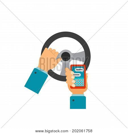 Icon of hands of driver using mobile phone on move. Distraction, careless driving, road safety. Car accident concept. Can be used for topics like transportation, automobiles, driving