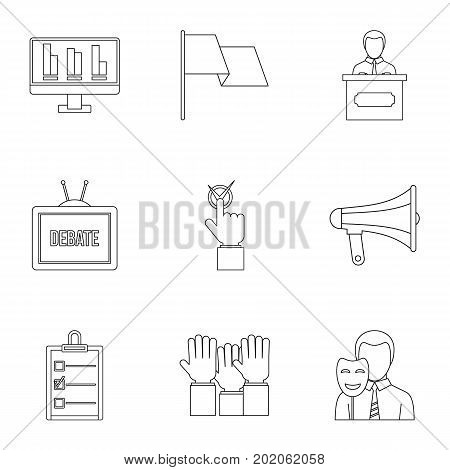 Legal icons set. Outline style set of 9 legal vector icons for web design