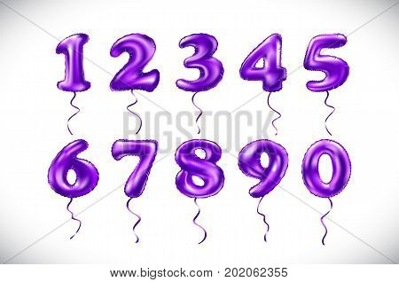 Vector Violet Pink Purple Number 1, 2, 3, 4, 5, 6, 7, 8, 9, 0 Metallic Balloon. Violet Party Decorat