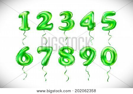 Vector Green Number 1, 2, 3, 4, 5, 6, 7, 8, 9, 0 Metallic Balloon. Party Decoration Golden Balloons.