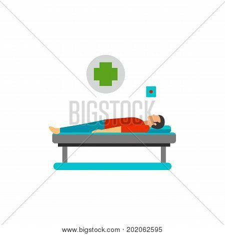 Icon of man lying on hospital bed. Victim of accident, patient, ambulance. Car accident concept. Can be used for topics like medicine, emergency, service