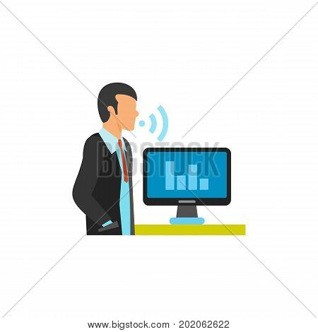 Icon of man managing computer via voice control. Speech recognition program, smart control, voice recording. Smart home concept. Can be used for topics like technology, communication, application