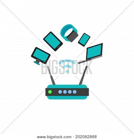 Vector icon of smart devices connected through router. Wireless technology, wi-fi, internet. Smart home concept. Can be used for topics like technology, communication, connection