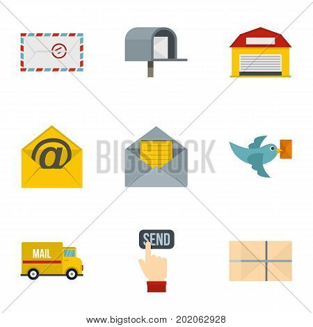 Send mail icons set. Flat style set of 9 send mail vector icons for web design