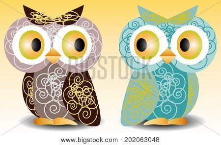 A Pair Of Owls With An Intricate Pattern On The Wings And Body, Volume, Glass Eyes.