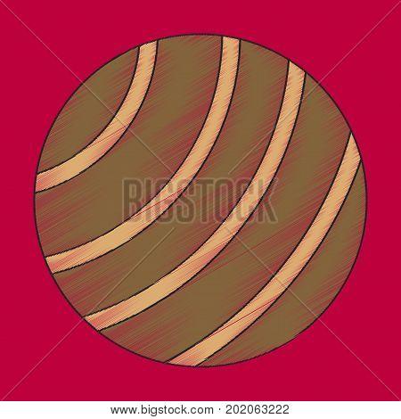 flat shading style icon Fitball gymnastic balance