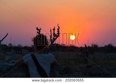 Colorful sunset in the Namib desert best travel destination in Namibia Africa. Defocused one person looking at view. Concept of adventure and traveling people. Rear view focus in the background.