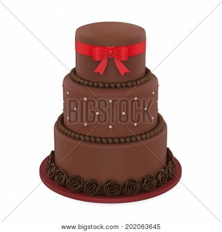 Tiered Cakes isolated on white background. 3D render