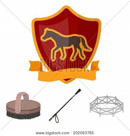 Aviary, whip, emblem, hippodrome .Hippodrome and horse set collection icons in cartoon style vector symbol stock illustration .