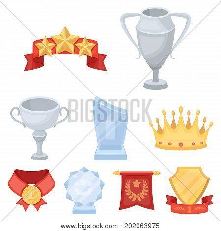 Awards, gold medals and cups as prizes in competitions and competitions. Awards and trophies icon in set collection on cartoon style vector symbol stock web illustration.