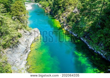 The crystal clear waters of a river running through a beautiful valley in northern California.
