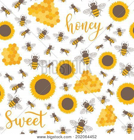Seamless Pattern With Sunflowers, Bees, Honey Sweet Text. Sweet Honey Background For Beekeeping Prod