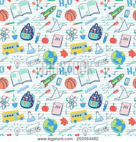 Back To School Seamless Pattern. School Bus, Rocket, Globe, Backpack, Ball, Book, Chemistry, Test Tu